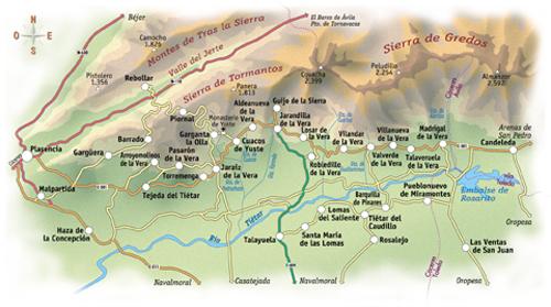 Sierra De Gredos Mapa.La Comarca De La Vera Sierra De Gredos
