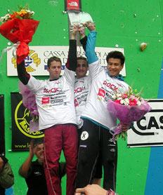 Triple victoria en Arco: Hirayama, Bindhammer y Mrazek se reparten el pastel.Foto: Andrea Gennari Daneri