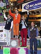 El podio femenino.Foto: www.pareti.it/bolzano.htm
