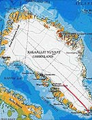 "Mapa del plató glaciar de Groenlandia - Foto: <a href=""http://www.greenland-adventure.com""> greenland-adventure.com </a>"
