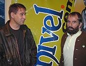 Pedro Antonio Ortega y César Pérez de Tudela, dos de los protagonistas de la primera invernal a la oeste del Naranjo, juntos en la librería Desnivel. foto: Desnivel