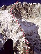 """La vía que Babanov no ha podido concluir sobre el Pilar sureste del Nuptse - Foto: <a href=""""http://www.babanov.com """">babanov.com </a>"""