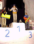 "Podium femenino en Pitzal 2003: Ines Papert (1ª), Kirsten Buchmann (2ª) y Ksenia Sdobnikova (3ª) - Foto: <a href=""http://www.ice-time.com"">ice-time.com</a>"