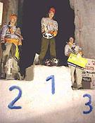 "Podium masculino en Pitzal 2003: Dimitri Bytchkov (1º), Harald Berger (2º) y Simon Anthamatten (3º)- Foto: <a href=""http://www.ice-time.com"">ice-time.com</a>"