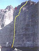Línea de Misión Improbable en el acantilado de Los Gigantes, Tenerife. - Foto: Col. Pat Littlejohn