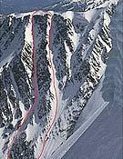 """Castor y Pollux, dos primeras de Pierre Tardivel en la suoreste de la Aiguille du Goûter, Alpes. - Foto: <a href=""""http://www.ski-rando.com"""">ski-rando.com</a>"""