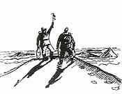 Tenzing y Hillary en la cima del Everest.  ~ Ilustración de Hodder y Stoughton, extraída de Mi camino al Everest (Ediciones Desnivel)
