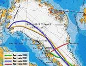 En rojo la Travesía 2003 Este-Oeste a Groenlandia de Larramendi, Viú y López Soriano. Están a punto de culminar. - Foto: transgreenland.com