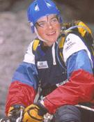 Mónica Aguilera, capitana del Buff Extrem Team, que mantiene de momento la quinta plaza provisional de Gauloises 2003.  ~ Archivo Desnivel