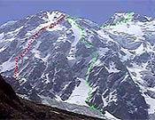 """Proyecto de apertura (en rojo) de Simone Moro y Jean C. Lafaille en la vertiente Diamir del Nanga. - Foto: <a href=""""http://www.russianclimb.com"""">russianclimb.com</a>"""