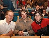 Los conferenciantes en el Salón de Vic 2003. Carlos Buhler, Rikar Otegui y Josune Bereziartu. - Foto: Archivo Desnivel