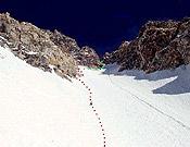 Detalle del punto más alto alcanzado por Piotr y Simone en la pared. - Foto: simonemoro.com