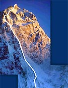 Vista de la pared de Rupal, con la línea prevista del último y fallido intento aperturista, a cargo de Tomaz Humar. <br>Foto: humar.com