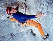 Marko escalando en libre en Eslovenia. - Foto: B. Strmsek