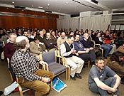 Un numeroso público abarrotó el Salón de Actos de la Biblioteca de Aragón los tres días.  ~ Foto. Ignacio Ferrando