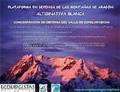 Cartel de la Concentración organizada por la Plataforma en Defensa de las Montañas para el próximo 20 de marzo en el Valle de Espelunciecha y el Collado del Portalet.  ~ ecologistasaragon.org/nieve