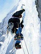 Oscar Cacho en el primer largo de hielo de Aloïs. - Foto: José I. Gordito.