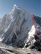 El Spantik, y marcadas, las dos rutas de ascensión de la expedición. En azul, la directa traza del Golden Pillar.- Foto: guardiacivil.org