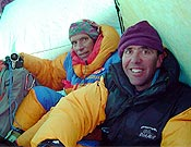 Manel De la Matta y Oscar Cadiach en el Campo 2 durante el ataque a cima (11 de agosto). - Foto: Exp. K2 Magic Line