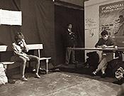 Chaterine esperando su turno en la Competición Internacional de Grenoble de 1987. - Foto: Guy Martin (Ascensiones).