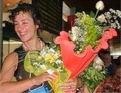 Una sonriente Chus Lago a su regreso a Vigo. - Foto: chuslago.com