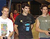 Podium masculino en las Escolas Pías de Barcelona: Juantxo Pons, Dani Andrada y Marco Juves. ~ Foto MJ/top30.es
