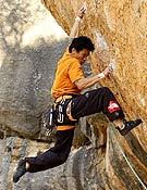 Yuji Hirayama escalando en Siurana, durante su última visita a España la pasada primavera. ~ desnivelpress.com