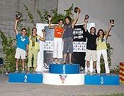 Podio final de la Copa de España 2005, con los ganadores Patxi Usobiaga y Daila Ojeda en el centro.  <br> Foto: Isaac Fernández / FEDME
