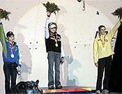Podio femenino en Duisburg, con la ganadora Angela Eiter en lo más alto. Foto: worldgames2005.de