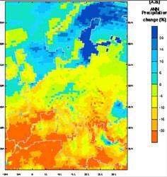 Figura 3. Previsiones de cambio entre las condiciones presentes y el 2080 según el modelo Hadley 3 y los escenarios de emisiones de gases de efecto invernadero del IPCC. El cambio previsto en la Cordillera Cantábrica es de una disminución de la precipitación del 15%. Modelo del Hadley Centre for Climate Prediction and Research, UK Met Office.
