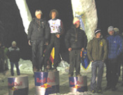 Evgeny Kryvosheytsev, Hari Berger y Samuel Anthamatten en el podio.- Foto: Harold Berger