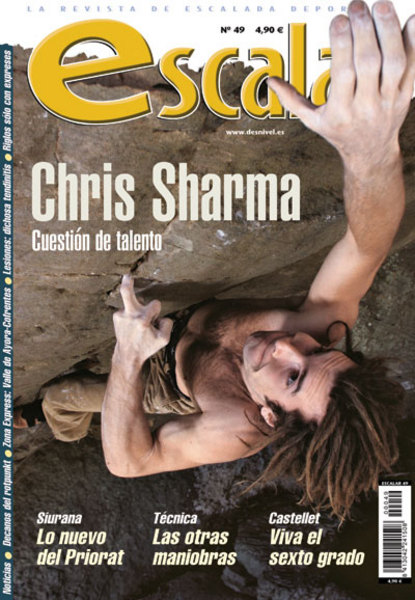 Portada de la revista Escalar nº49. Chris Sharma en Forbidden fruit, Ozark Mountains, Arkansas....