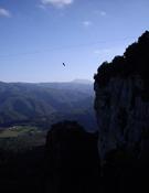 Tirolina instalada en Tavertet con motivo de la feria.- Foto: Mikel Vilella