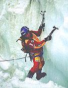 Valery Babanov durante su primer intento en solitario y estilo alpino al Meru Central (2001). <br>Foto: babanov.com