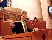 Juan Carlos Cirera, de SEO/Birdlife durante una de sus intervenciones en las Cortes de Aragón.- Foto: Plataforma en Defensa de las Montañas