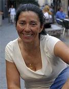 Rosa Fernández en los exteriores de la Librería Desnivel poco antes de la presentación de Mi Everest.- Foto: Desnivelpress