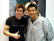 Edu Marín y Yuji Hirayama hace pocos días en la sala :Climbat de Barcelona. Foto: climbat.com