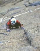 Ryan Nelson en una de las tiradas deTague yer time (V+) en el Black Canyon en 2004.- Foto: Col. Ryan Nelson