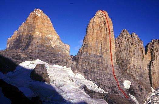 Línea de la Golazo en la Torre Central del grupo del Paine.- Foto: risk.ru
