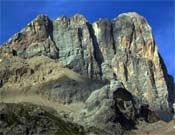 La cara Suoreste de la Marmolada, Dolomitas.