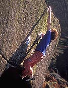 Tyler Landman en The Ace, 8b de bloque.- Foto: Alex Messenger