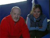 Sebastián Álvaro y Edurne Pasabán en el CB del K2 durante la expedición del 2004.- Foto: desnivelpress.com
