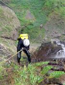 Barranco Pombas (cascada de 250 m) en Cabo Verde.<br>Foto: Col. Laura Samsó y Joan L. Haro