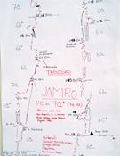 Cróquis de la ruta Jamiro (640 m, 7a+), en la pared del Taoujdad.- Foto: Col. Jóvenes Alpinistas