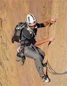Jonatán Larrañaga en L´axe du mal (500 m, 7c), en las paredes del Tadrarate.- Foto: Col. Jóvenes Alpinistas