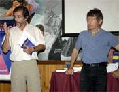 Carlos Soria y Pedro Nicolás en la Librería Desnivel.<br>Foto: desnivelpress.com