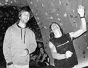 Chris Sharma y Marco Jubes durante una visita del americano a :Climbat.- Foto: top30.es