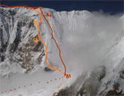 La ruta de Tomaz en naranja, la Polaca en rojo.- Foto: Col. Tomaz Humar