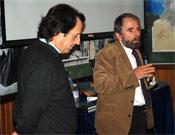 José Ramón, en primer plano, y César Pérez de Tudela el miércoles en la Librería Desnivel.- Foto: desnivelpress.com
