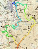 El recorrido de la prueba marcado sobre el mapa. Foto: Org. Cazorla Trail Running